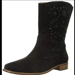Jack Rogers Kaitlin Stitched Boot Black Suede sz 6